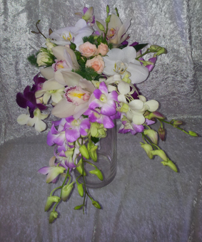Modern Trailing Bouquet of Mixed Orchids