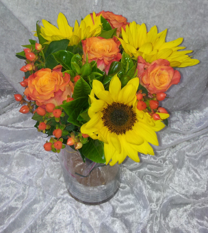 Bridesmaids Bouquet with Sunflowers, Roses, and Berries