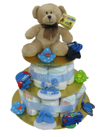Nappy Cake for New Born Baby Boy with Teddy