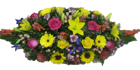 Casket Cover in Bright Mixed Flowers