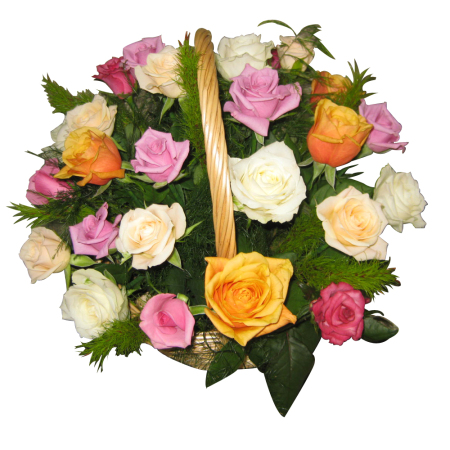 Basket of Beautiful Mixed Colored Roses