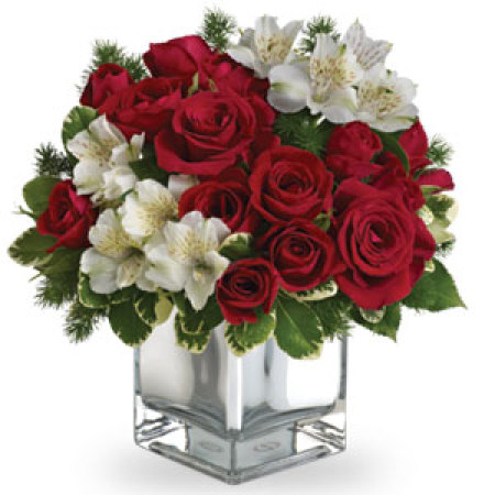 Roses arranged in a glass vase