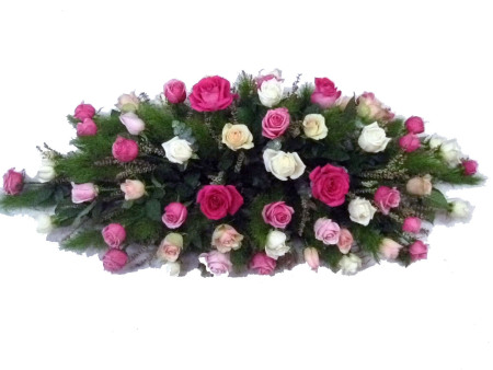 Pink and White Rose Casket Cover