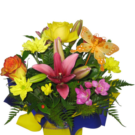 Bright Mixed Arrangement with butterfly