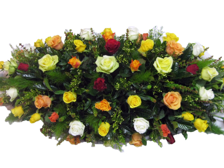 Mixed Coloured Rose Casket