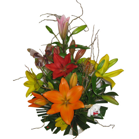 Tiger Lily Arrangement in a Ceramic Pot with small Teddy pick & Butterfly