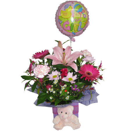 Baby girl boxed arrangement with Teddy Bear & Air filled Balloon.