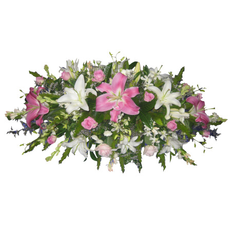Fragrant Lily, Rose & Orchid Casket Cover