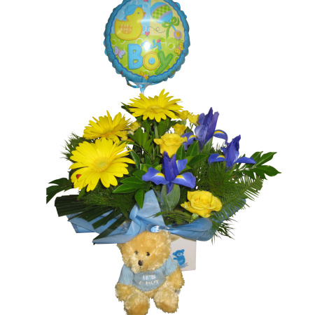 Baby boy boxed arrangement with Teddy Bear & Air filled Balloon