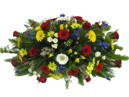 Colourful Mixed Flower Casket Cover