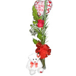 Single rose in a Vase with Small Teddy & Air Filled Balloon